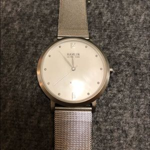 Hamlin dress watch. Silver. Used, good condition.